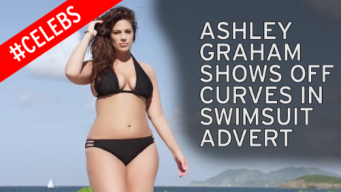 Plus size model Ashley Graham appears in an ad in Sports Illustrated's Swimsuit issue.